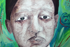 """""""Peter in Morn/mourn-ing"""" (close up) - Acrylic on box Canvas - 30.5 x 30.5cm"""